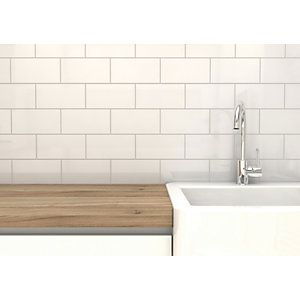 Wickes Cosmopolitan White Ceramic Tile 200 X 100mm Coffee Shop
