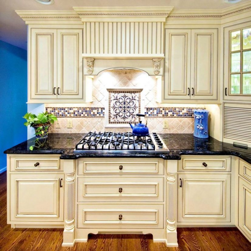 White Cabinets With Black Glazing: Cabinets Antique White With Brown Glaze Black Appliances