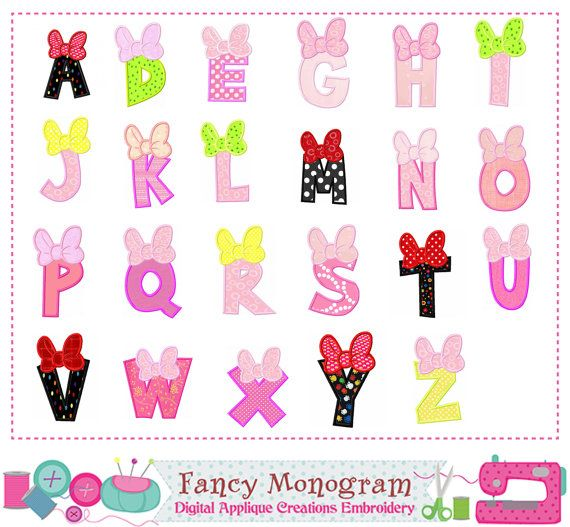 Minnie letters appliqueminnie monogram az appliquefontsalphabet bow letter az appliquebirhtday monogram az by fancymonogram spiritdancerdesigns Image collections