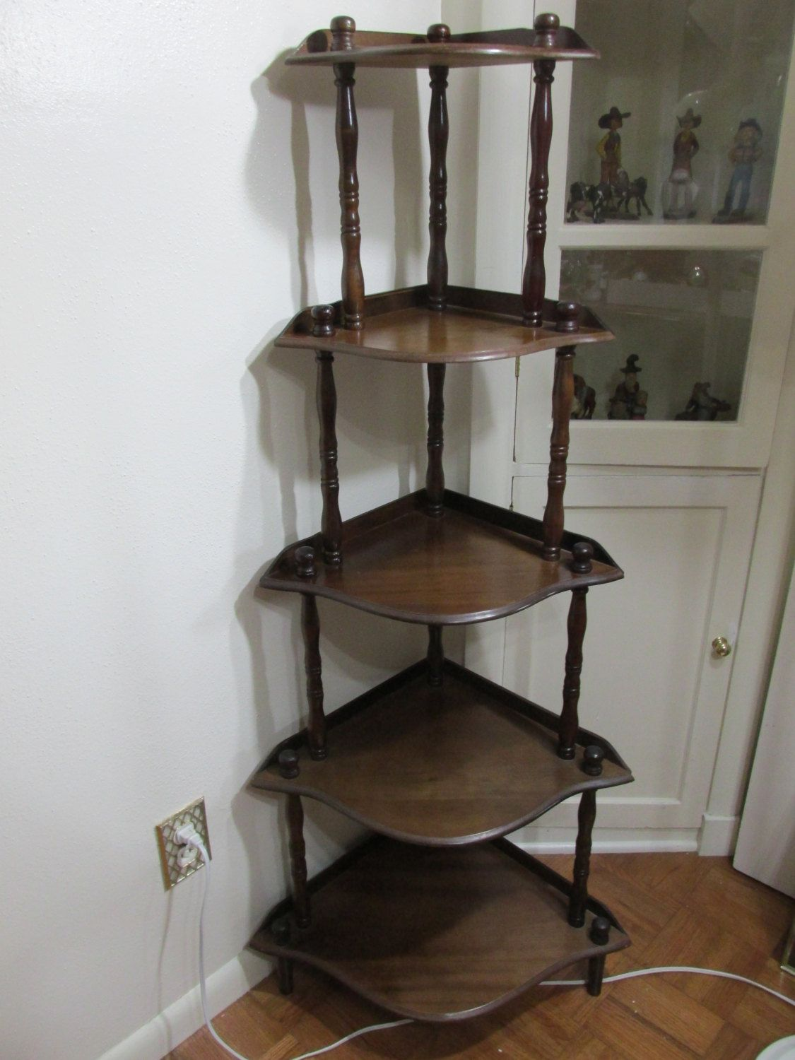 Corner Shelf Vintage Wood 5 Tier Stand Assemble Required By Luruuniques On Etsy Corner Shelves Tiered Stand Shelves