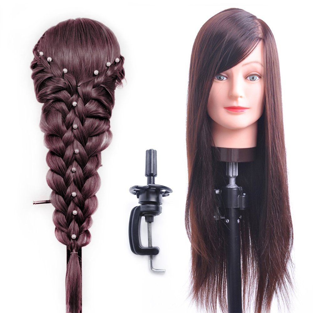 Hairealm 26 Mannequin Head Hair Styling Training Head Manikin Cosmetology Doll Head Synthetic Fiber Hair Table Clamp Stan Hair Styles Head Hair Mannequin Heads