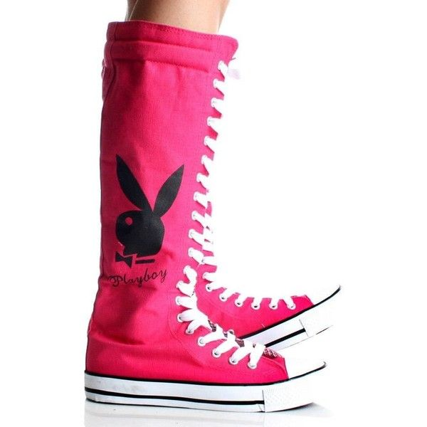Amazon.com  Playboy Bunny Lace up Knee High Boots Hot Pink Canvas... ❤  liked on Polyvore 5d474cfcc