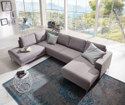 Couch Silas Grau 300x200 cm Ottomane Links Designer Wohnlandschaft - big sofa oder wohnlandschaft