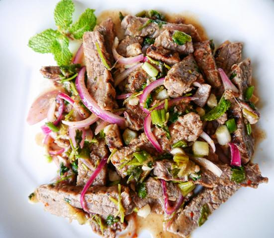 Nam Tok - Thai beef salad. It\'s what I always order at Bangkok ...