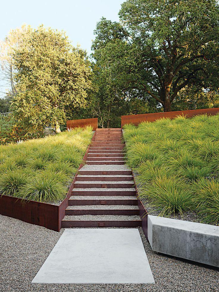 modern landscaping garden california cor-ten steel staircase