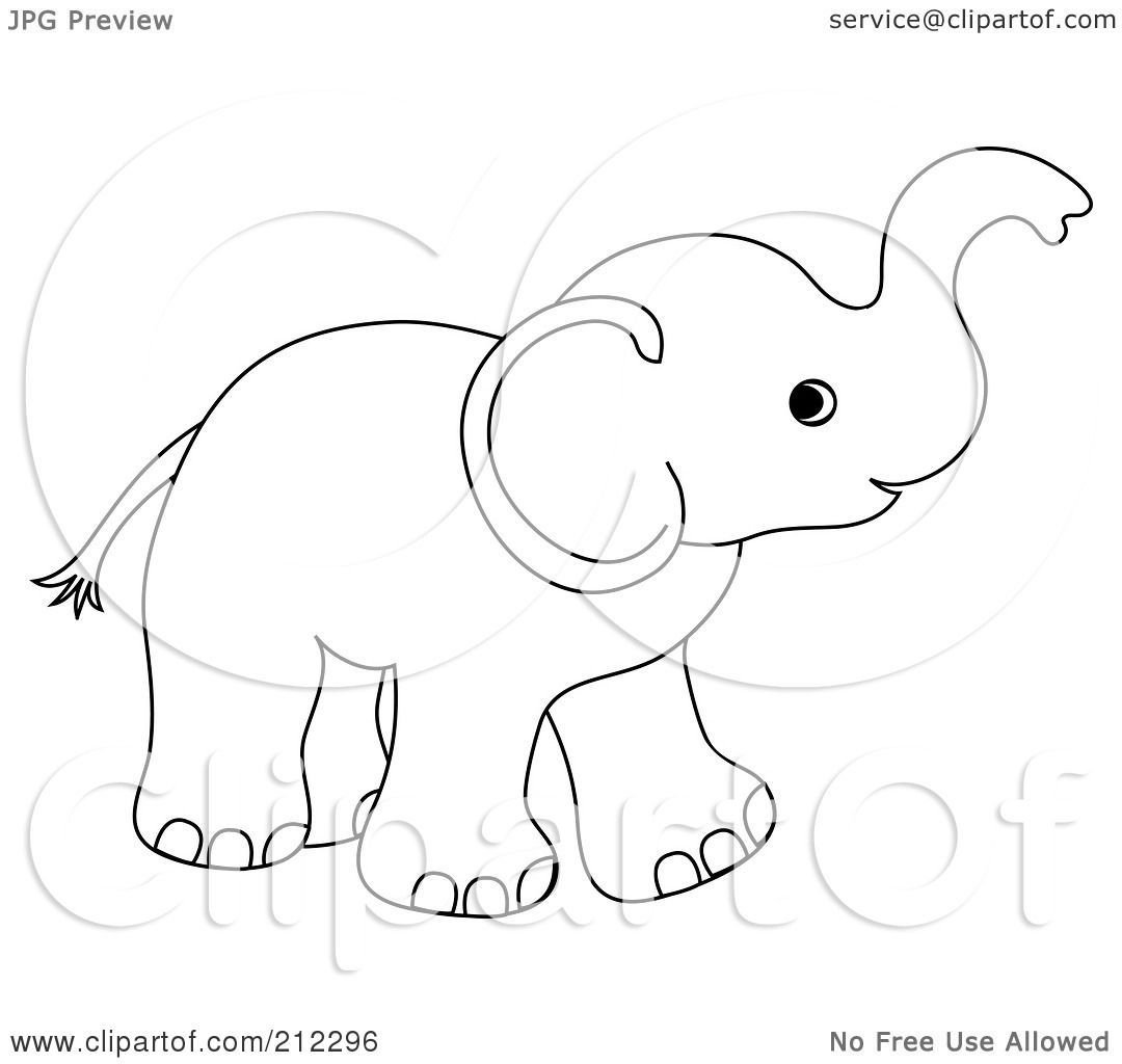 Of A Cute Outlined Baby Elephant Holding His Trunk Up By Pams Clipart