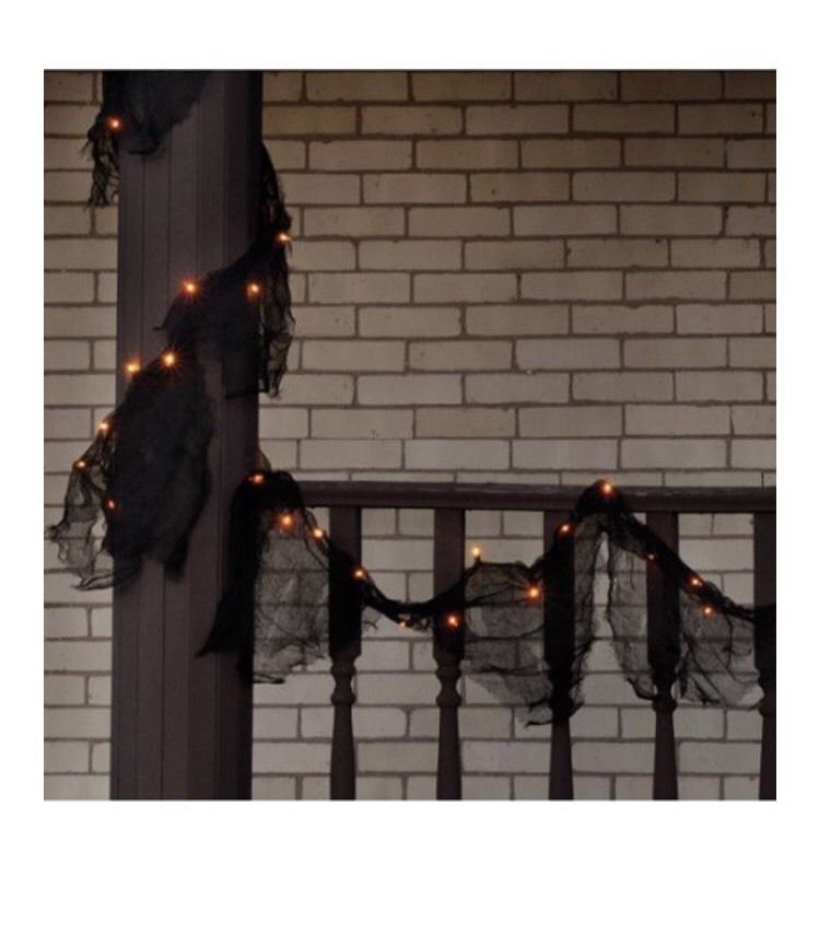 Halloween Garland Decoration Decor Black Orange Lights Lighted 9 - halloween lighted decorations