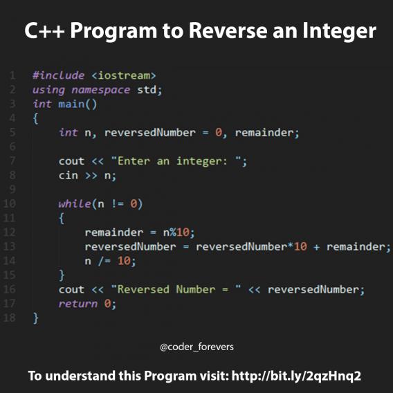 C Program To Reverse An Integer Computer Computer Code C Programming Learning Computer Programming Languages C Programming Tutorials