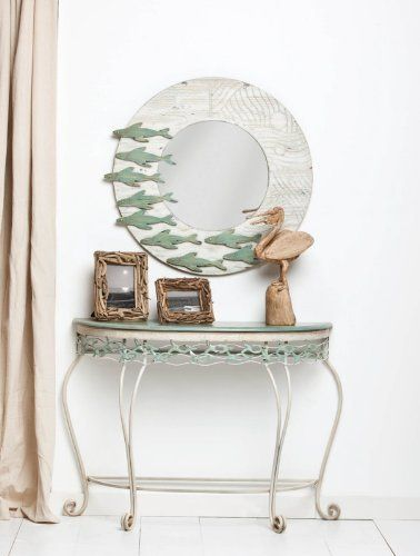Furniture,School of Fish Metal Half Round Table,Metal,31.75x14.75x41.5 Inches by Highland Crafts. $249.88