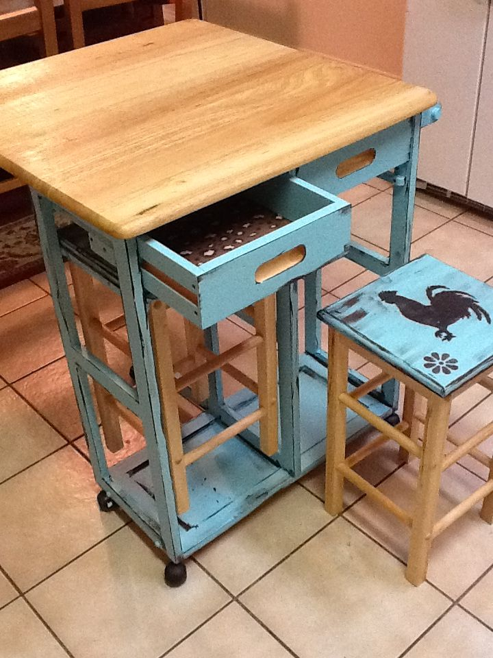 Mobile Kitchen Island With Stowaway Stools And Foldable Top