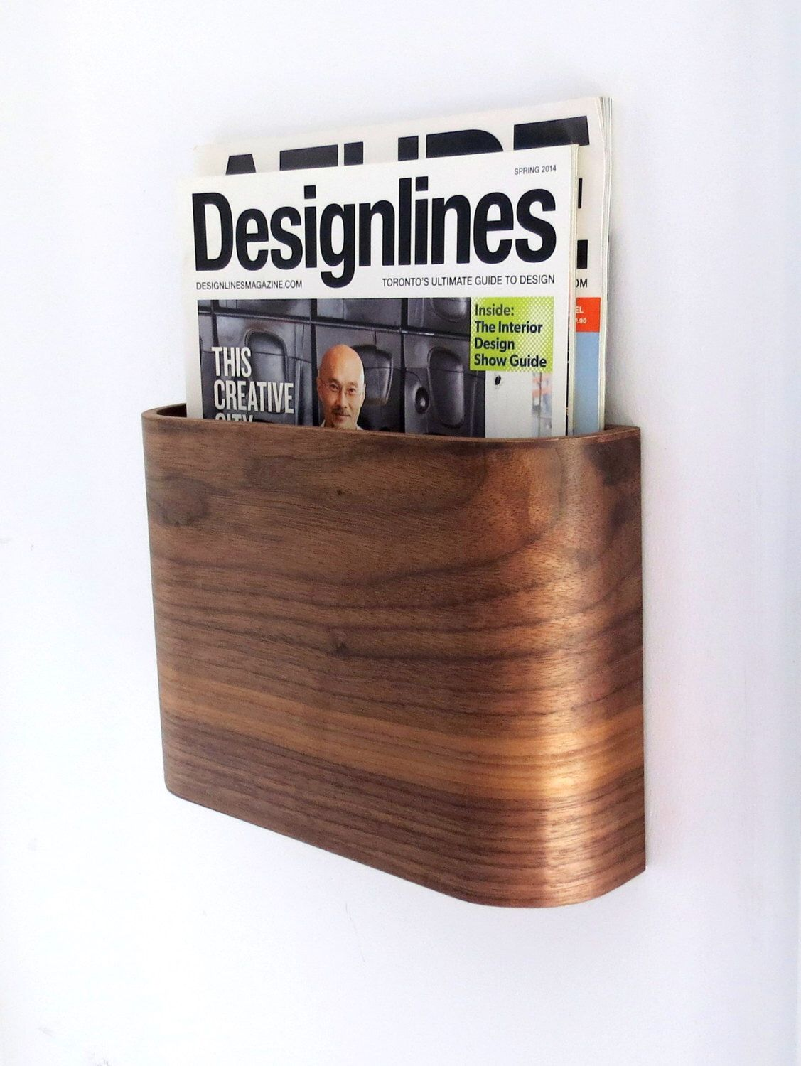 Magazine Rack - Wall hung wooden magazine holder by offcutstudio on Etsy  https://