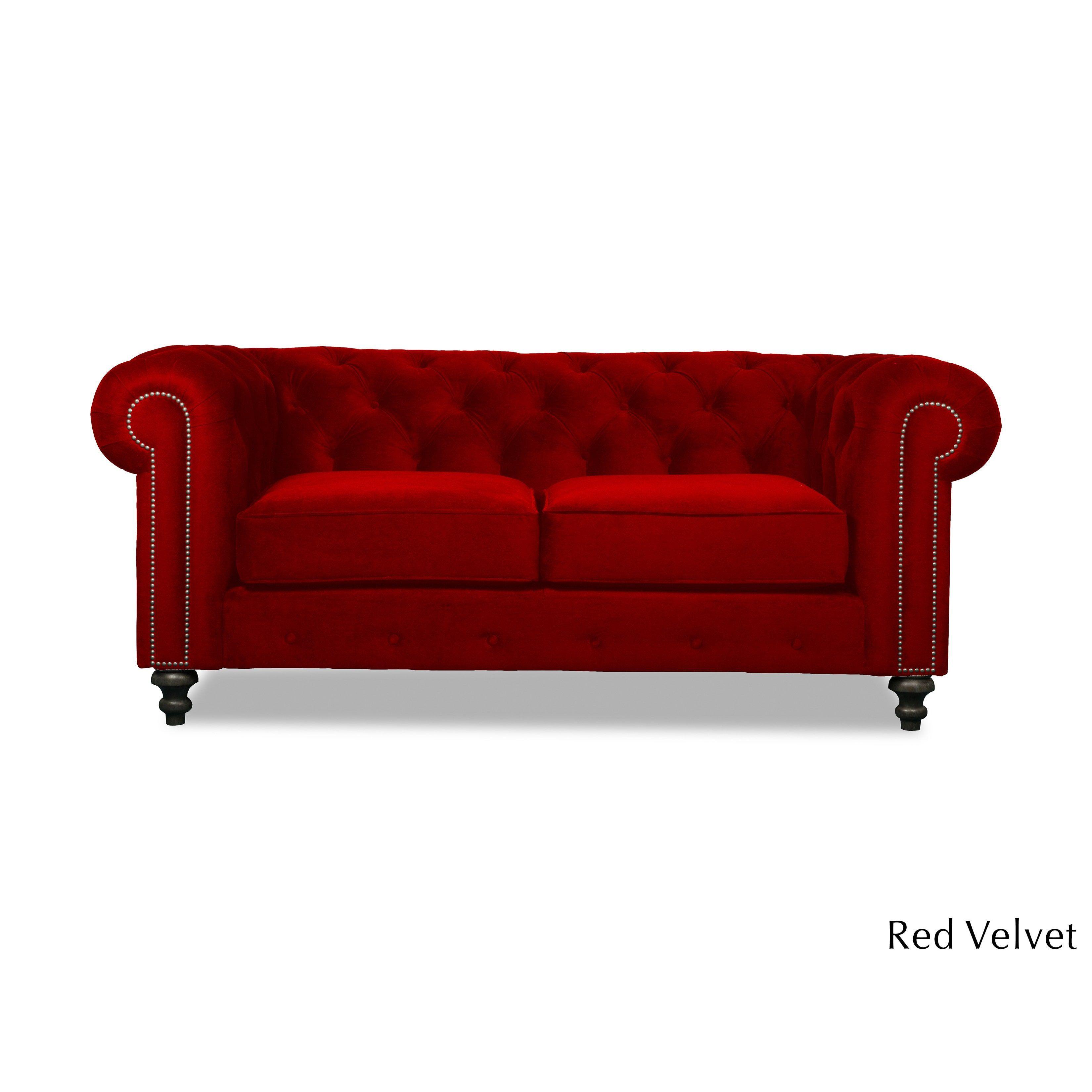 South Cone Home Patrick Chesterfield European Velvet Button Tufted Sofa