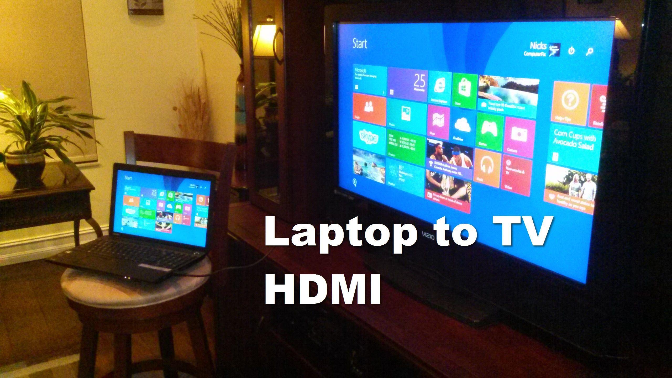 This video shows how to connect Laptop to HDMI TV which