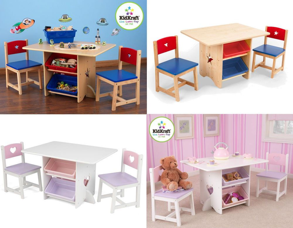 Kids Table And Chair Set Childrens Chairs Toy Storage Unit Study