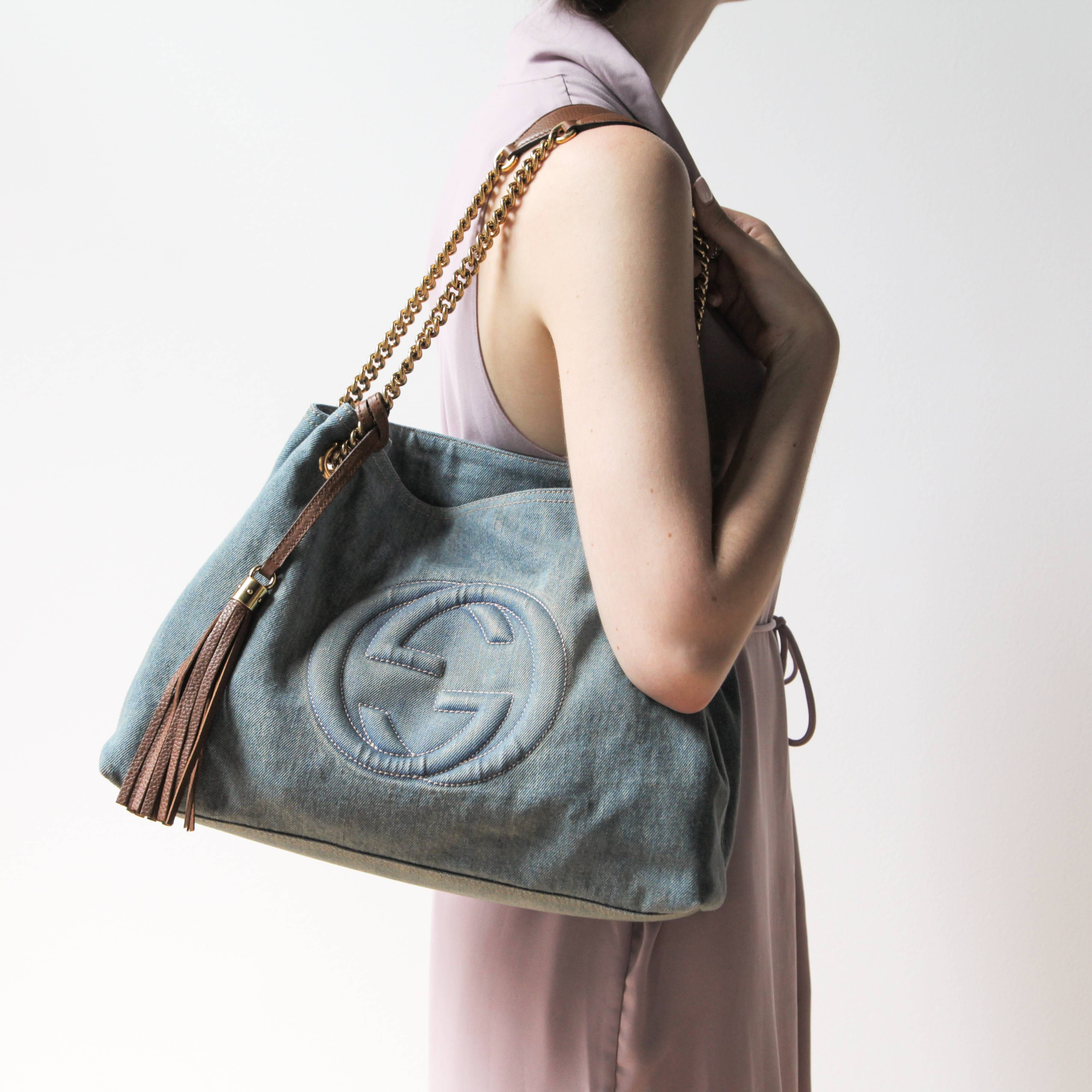 Gucci Soho Denim Shoulder Bag Denim Shoulder Bags Bags Best Tote Bags