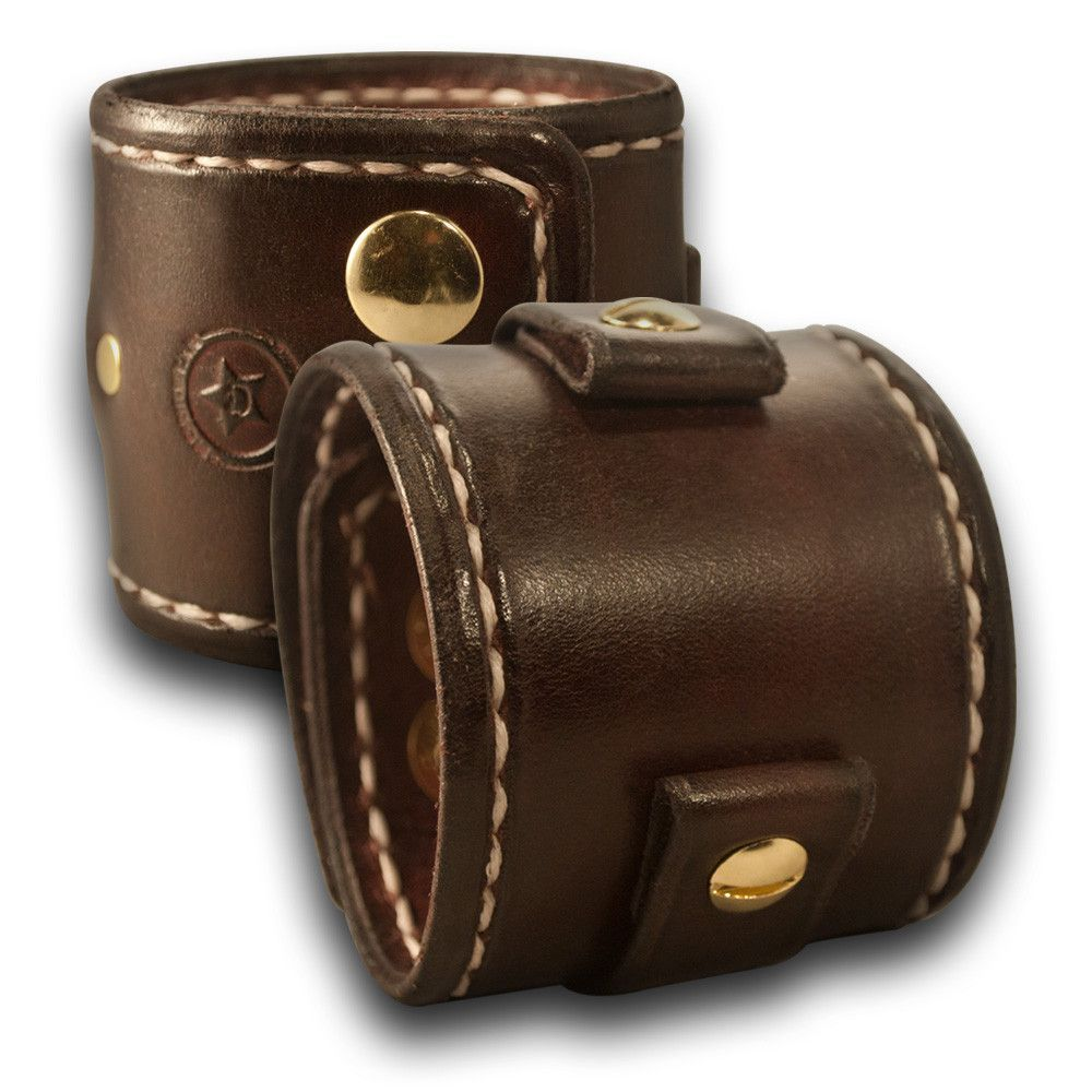 Dark Mahogany Leather Cuff Watch Band with Stitching & Brass Snaps