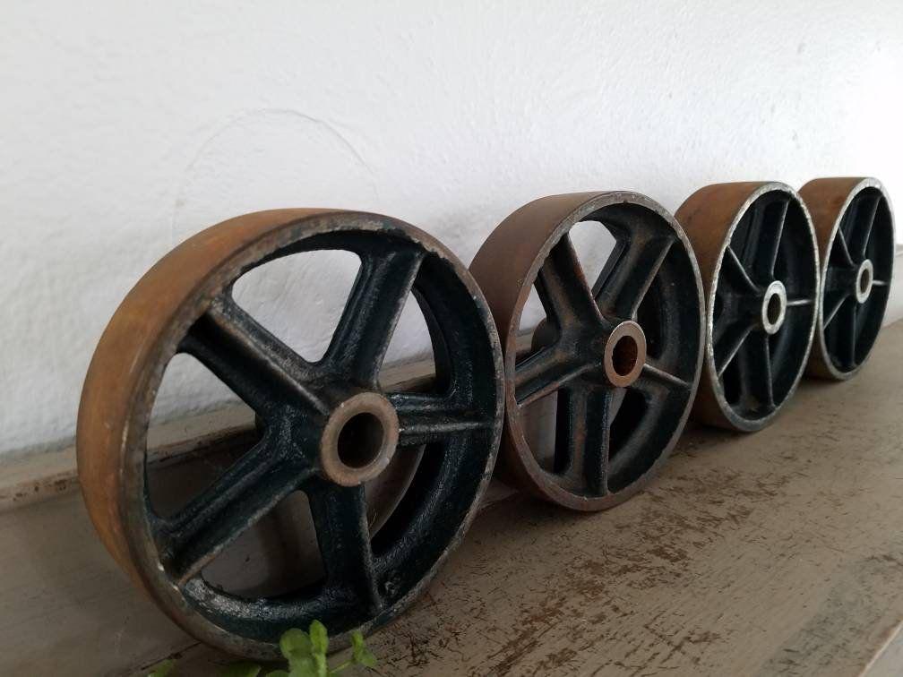 4 Factory Cart Wheels Vintage Industrial Wheels Cast Iron