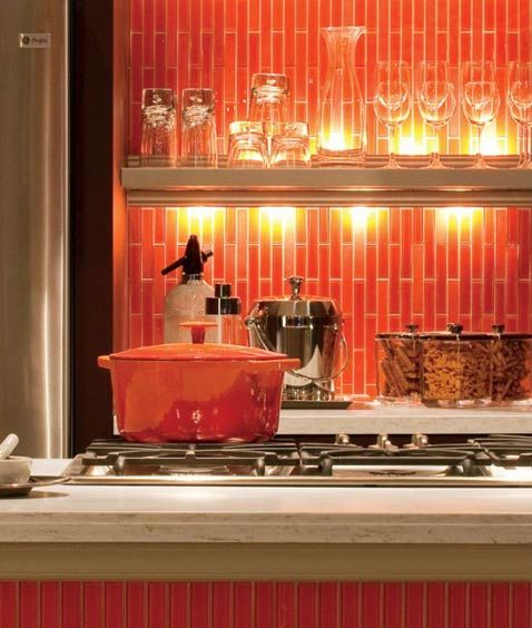 Red Subway Tile Backsplash Red And Orange With Vertical Installation Orange Kitchen Decor Orange Kitchen Glass Tile