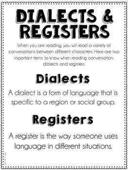 Dialects And Registers L 5 3b Language Forms Speech And Language Dialect