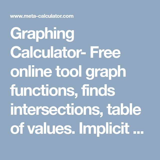 Graphing Calculator Free Online Tool Graph Functions Finds Intersections Table Of Values