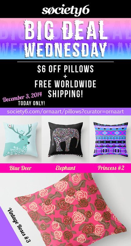 $6 Off #Pillows + Free #Shipping In My #Shop from #Society6