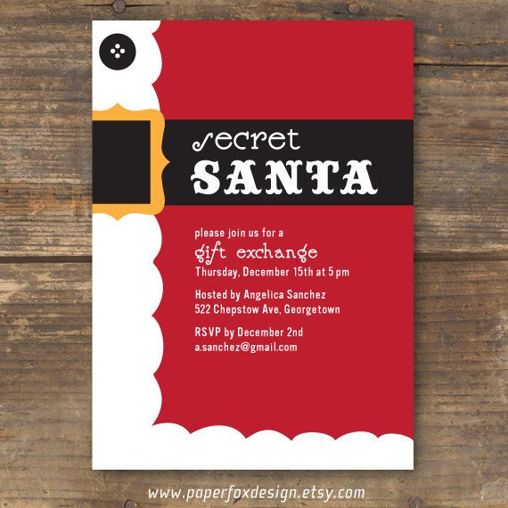 photo relating to Secret Santa Cards Printable known as Solution Santa Get together Invitation Do it yourself Printable via
