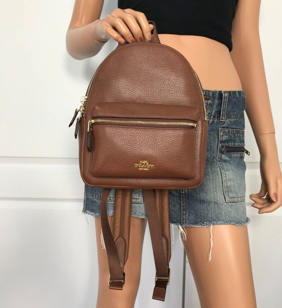 0ee0ad5e4cd799 NWT Coach Brown Pebbled Leather X Small Mini Backpack Book bag Purse #Coach  #Backpack