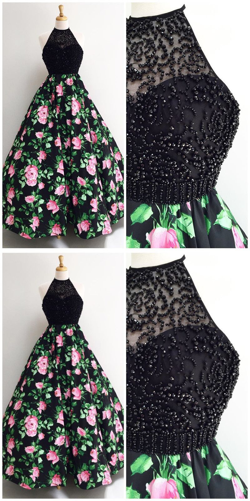 ffe66708431b Gorgeous Halter Black Long Floral Prom Dress,Prom Dresses,Evening Dress, Prom  Gowns, Formal Women Dress,prom dress P0675 #promdress #promdresses  #promgown ...