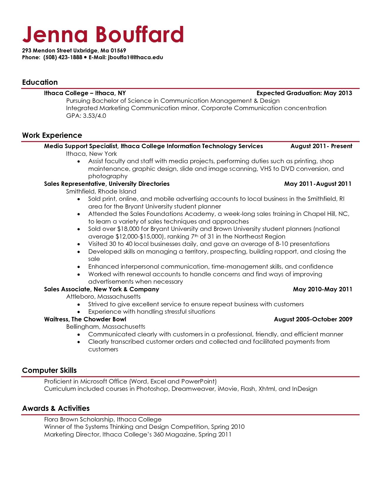 Charming Example Of Resume For College Student