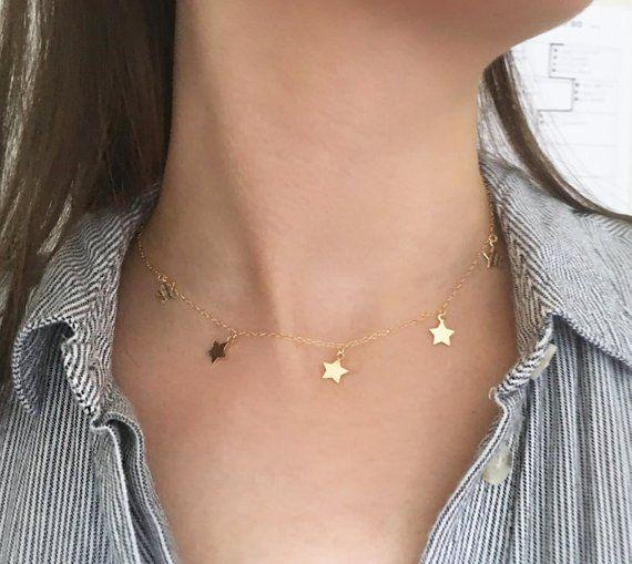 5 Gold Filled Star Princess Layering Choker Necklace, Star Charm Necklace, Gold Star Choker