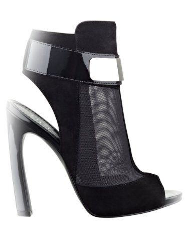 GUESS Women's Anavey Peep-Toe Mesh Booties, BLACK SUEDE (8) women's shoes. high-heel booties. peep toe, zipper closure at heel. suede upper with sheer mesh panels and patent trim. metal plate detail at ankle.  #GUESS #Shoes
