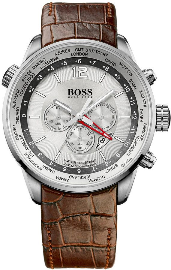 Mens Hugo Boss Watch 6 00 Hugo Boss Watches Brown Leather Strap Watches For Men