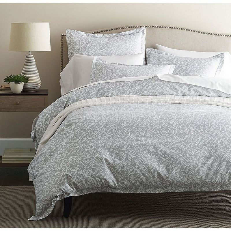 legends willow gray sateen bedding sprigged with abstract botanicals this lovely bedding is