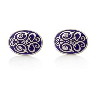 Finest Enamel Cufflinks Hallmarked Sterling Silver