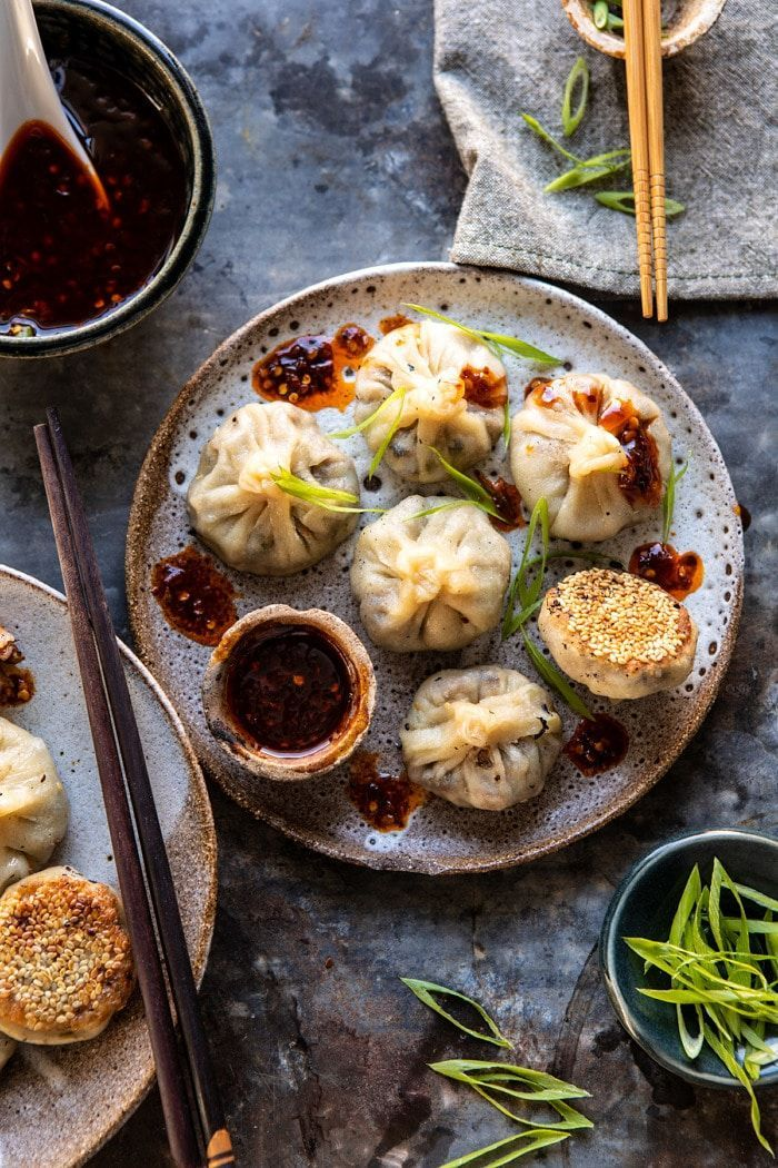 Photo of Chinese Mushroom Dumplings with Sweet Chili Ginger Sesame Sauce. Video Rezept