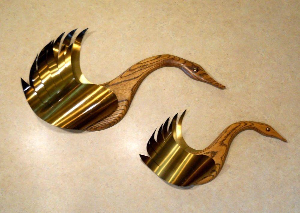 Mid Century Modern MASKETEER Wood Metal Wall Art Geese Bird Flying ...