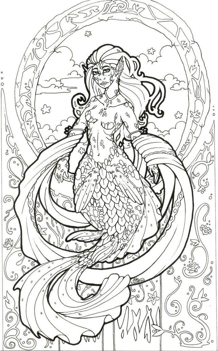 Art Nouveau Mermaid 39 Inked 39 by