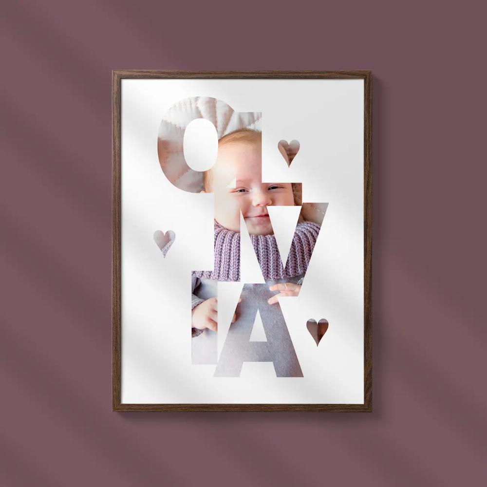 Name In Photo Vertical Self Print Posters I 2020 Billede Plakater Babybilleder