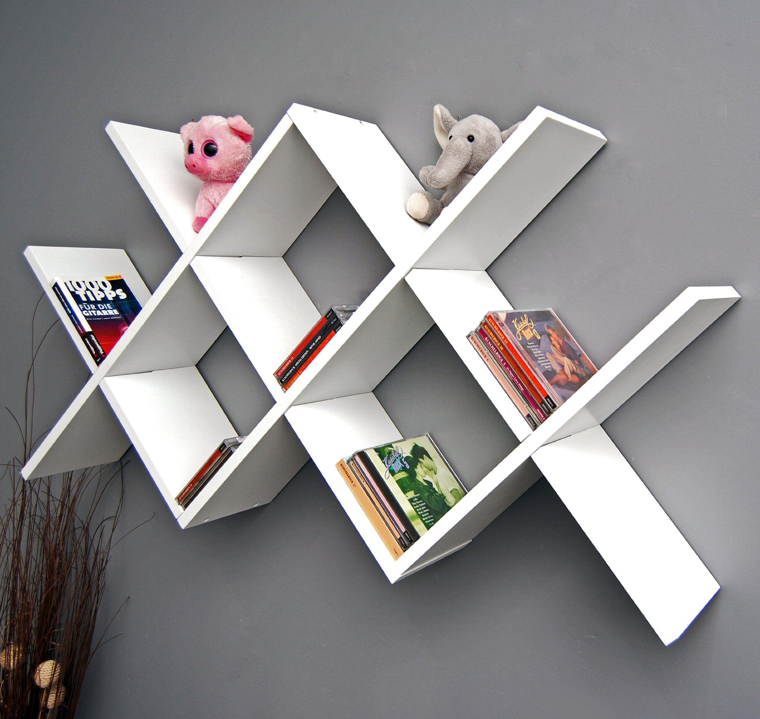 Design Retro Regal Caro Weiß Als Wand  Oder Standregal Bücher CD  Hängeregal: Amazon.