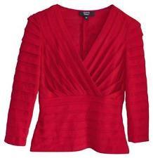 07883a21e50e TADASHI SHOJI Red Shutter Pleat Top Knit Blouse XS 0 2 PERFECT Formal  Evening