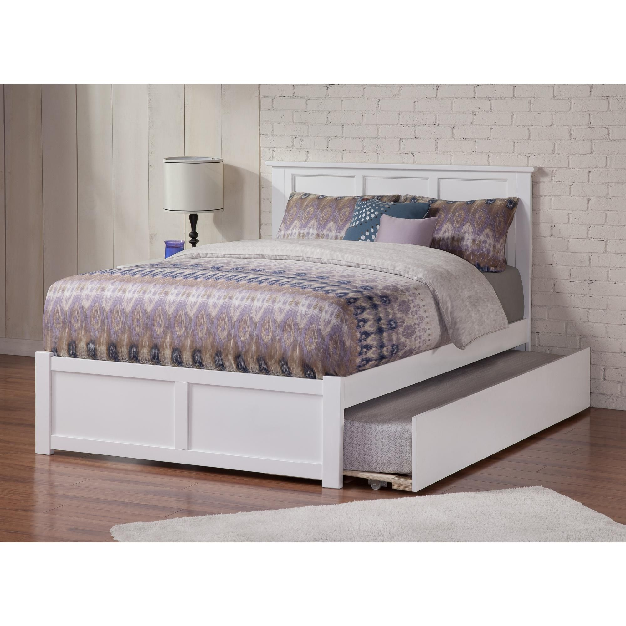 Madison Platform Bed With Flat Panel Foot Board And Twin Size Urban Trundle Bed In Multiple Colors And Sizes Walmart Com Trundle Bed Frame Bed With Drawers Trundle Bed