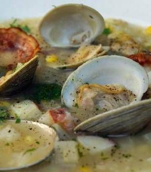 Corn and clam chowder, Oven-roasted sea bass and Quick green tomato chutney, three dishes that are perfect for Summer's End.