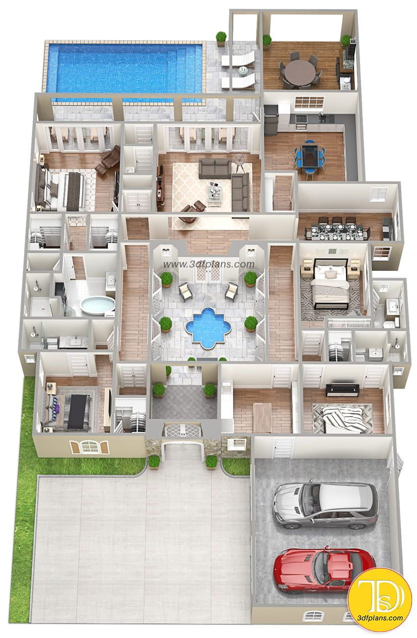 Residence 3d Floor Plan Pool House Plans 4 Bedroom House Plans Sims House Design