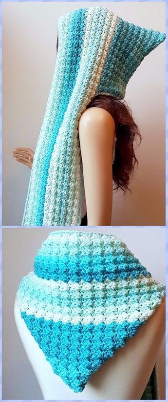 Crochet Hoodie Scarf Scoodie Free Patterns | Tejido, Capuchas y Guantes