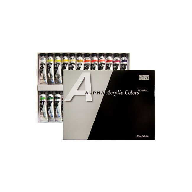 Alpha Acrylic Paint Silver Label 20ml Set 24 Colors 0 67oz Tube