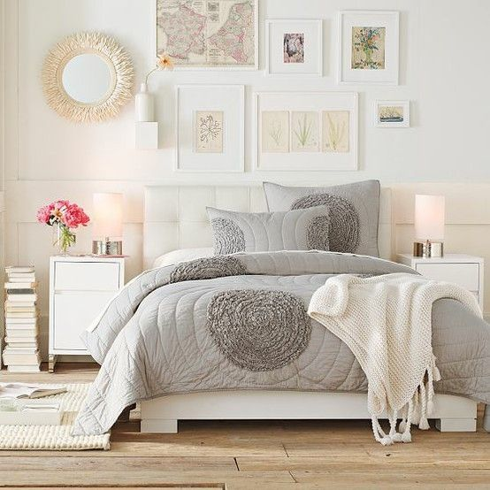 I Love The Bed Spread Gray Is So Cute Home Bedroom Romantic