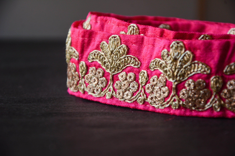 0c647808a46f Magenta Indian Lace, Pink Gold Zari Lace, Gota Patti, Decorative ...