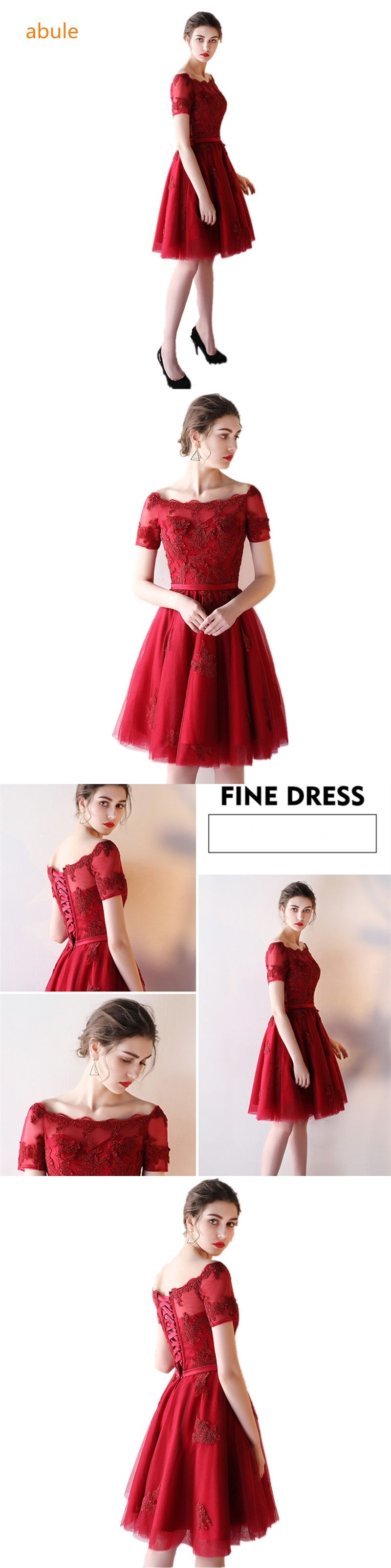 abule Women short Evening Dress 2017 Sexy a-line lace up Red wine Formal  Prom a01eac0184ce