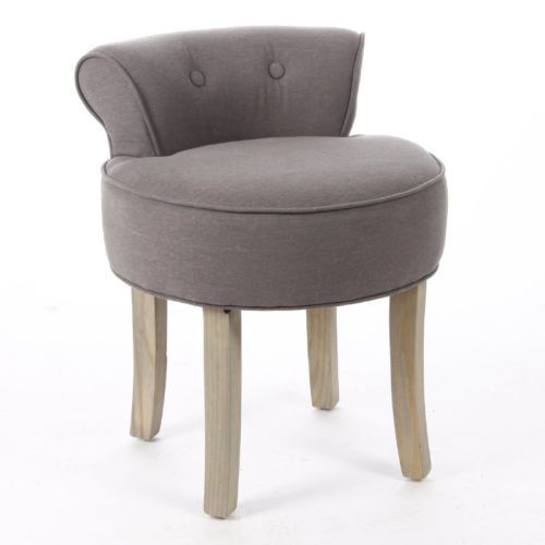 Dressing-Table-Vanity-stool-Padded-Seat-Chair-Modern-Bedroom-Grey-Cotton-Linen