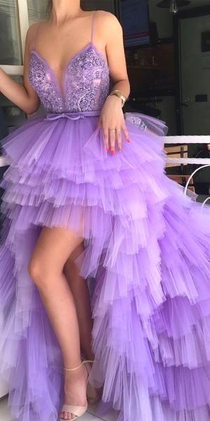 Spaghetti Straps HighLow Tulle ALine Applique Prom Dresses FC1937